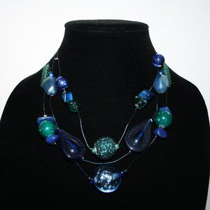 Beautiful blue layered necklace adjustable